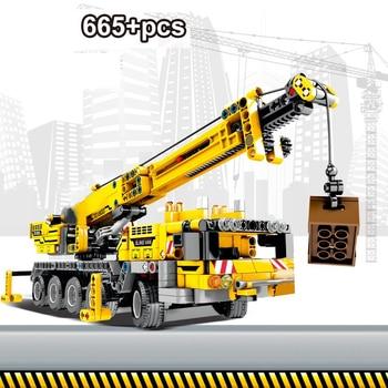 цена на 665pcs Building Bricks City Engineering Technic Machine Car Building Blocks Technic Enlighten Bricks Toys For Children