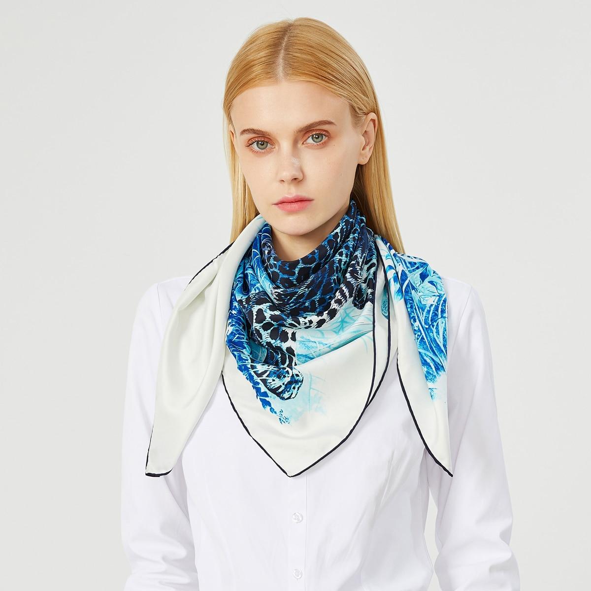 90cm Leopard Hijab Schal Luxus Twill Seide Quadrat Schals Marke Frauen Kopf Schal Handgemachte Gekräuselt Worden Design Foulard Bandana Damen