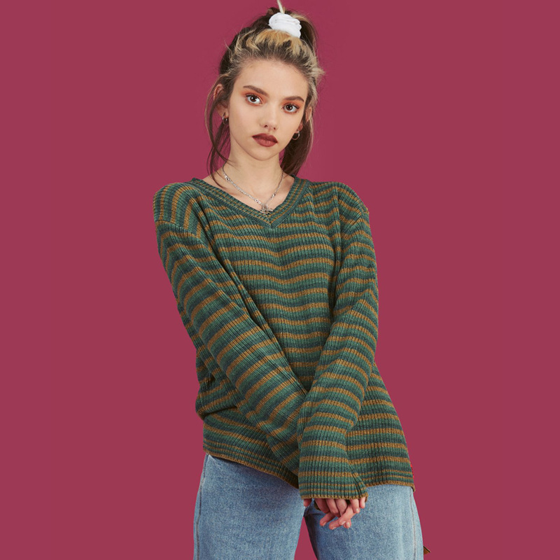 2019 Autumn And Winter New Style Unif Celebrity Style Europe And America Stripes Color V-neck Pullover Sweater