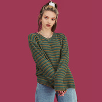 2019 Autumn And Winter New Style Unif Celebrity Style Europe And America Stripes Color V neck Pullover Sweater