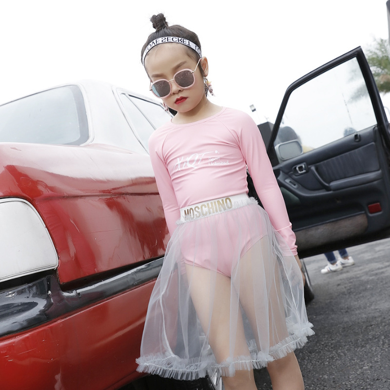 2018 New Style One-piece One-Piece Long Sleeve Conservative Briefs Send Transparent Long Mesh Dress Girls KID'S Swimwear