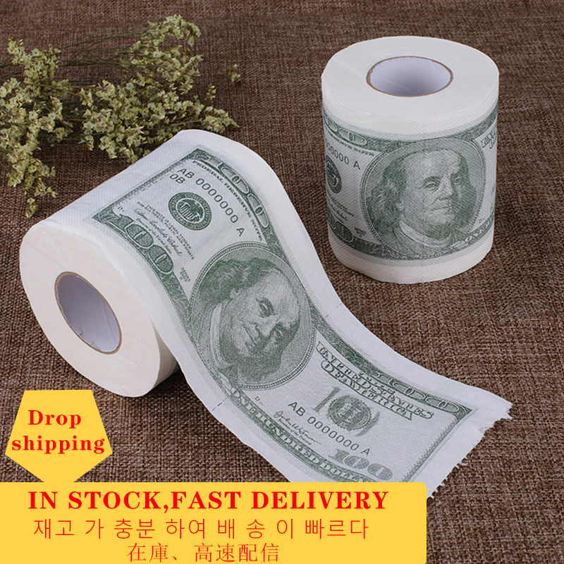 Fast Shipping Funny Joke Trump Toilet Paper Hot Donald Trump $100 Dollar Bill Novelty Gifts Toilet Paper Roll Drop Shipping