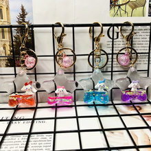 Five Pointed Star Acrylic Cute Rabbit Dog Horse Floating Doll Car Keychain Quicksand Keyring Trendy Bag Pendant Accessories Gift