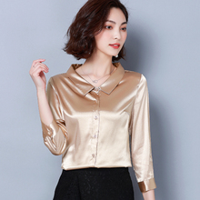 New Elegant Silk Shirts Women Spring Summer Blouse 3/4 Sleeve Casual Candy Color Office Shirt Tops Female Fashion Plus Size Tops