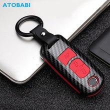 Carbon Car Key Case For Mazda 3 5 6 CX-3 CX-4 CX-5 CX-7 Axela Atenza Smart Remote Fob Protector Cover Keychain Bag Accessories auto driving assistant smart wiper and headlight sensor for mazda cx 4 2016