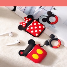 Bluetooth Earphone Case for Airpods 2 1 Protective Cover For air pods Box Key Ring Strap Cute Cartoon Silicone Mickey Minnie 3d lucky rat cartoon bluetooth earphone case for airpods pro cute accessories protective cover for apple air pods 3 silicone