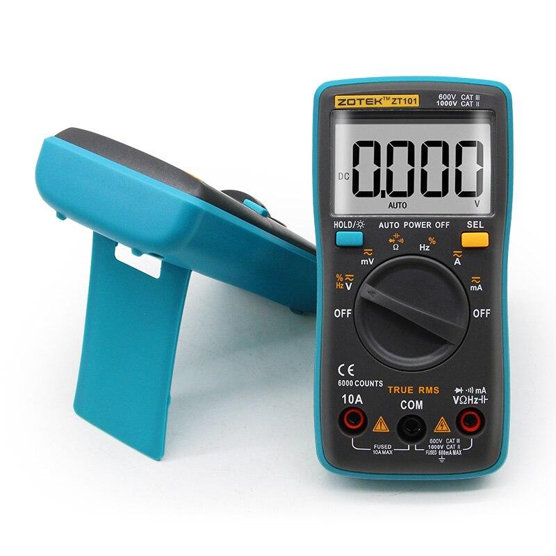 ZOYI ZT101 ZT102 Multímetro digital digital de faixa automática 6000 contagens Backlight Amperímetro Voltímetro Ohm Inglês / Russo manual do usuário]