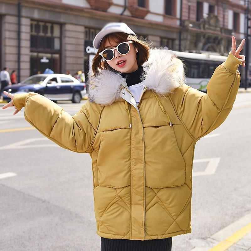 2019 Fashion Warm Winter Jacket Casual Women Hooded Fur Collar Down Cotton Coats Korean Solid Color Loose   Parkas