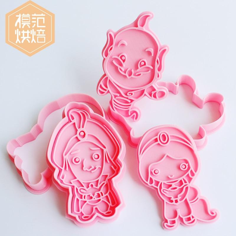 Aladdin Cookies Cutter 3d Disney Cartoon Cookie Mold Baking Accessories Pressing Cute Bakeware Baking Bakery Tools