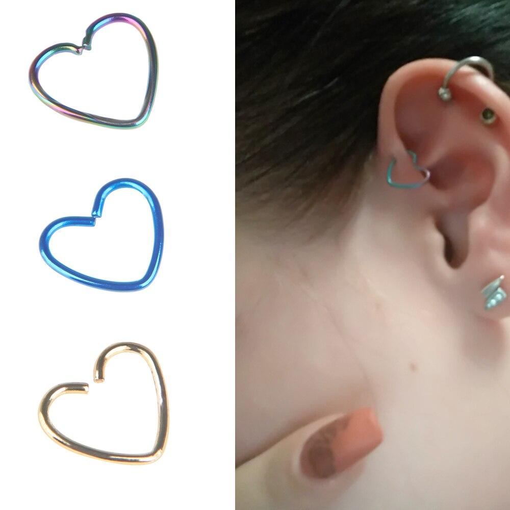 2Pcs Surgical Steel Heart Piercing Earrings Cartilage Ear Studs Body Jewelry