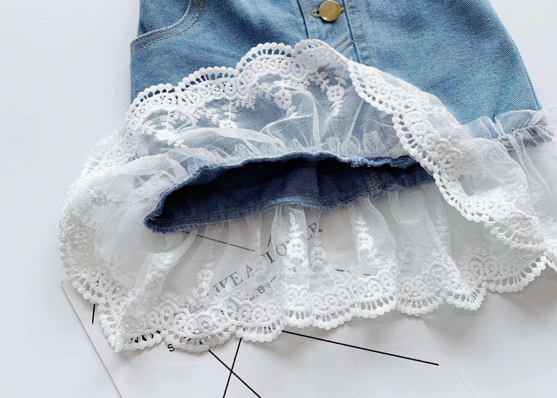 Jargazol Fashion Kids Clothes Puff Sleeve Shirt&lace Denim Skirt Korean Summer Little Girls Clothing Set Cute Children Outfits 5