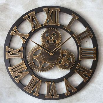 3d Metal Retro Wall Clock Gold Vintage Living Room Wall Clocks Large Kitchen Relojes De Pared Modern Design Home Decor GG50gz