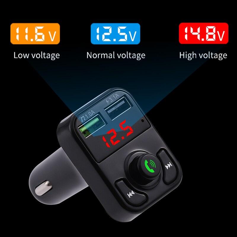 Kit de manos libres para coche Bluetooth 5,0, Transmisor FM, receptor de Audio inalámbrico, reproductor de MP3 automático, Cargador rápido USB Dual, voltímetro Digital D