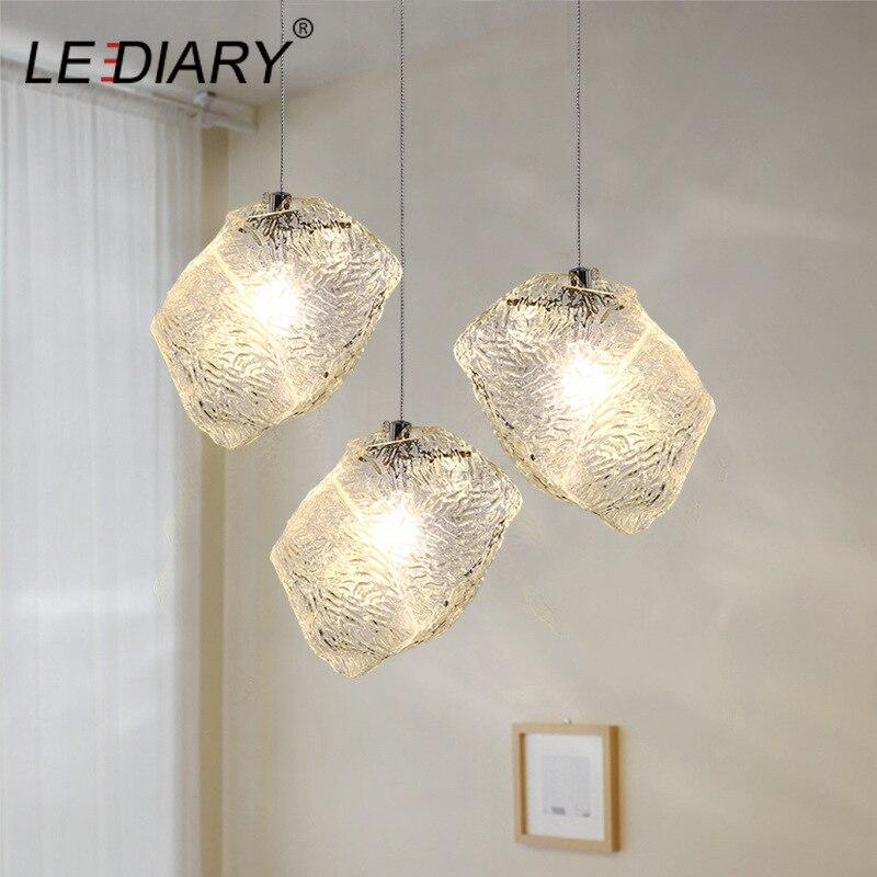 Leagenda glaçon pierre pendentif lumière ondulation verre pendentif lampe Bar compteur 96-240V E27 nordique suspension lampe cuisine luminaire