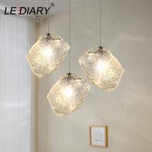 LEDIARY Ice Cube Stone Pendant Light Ripple Glass Pendant Lamp Bar Counter 96-240V E27 Nordic Hanging Lamp Kitchen Light Fixture стоимость