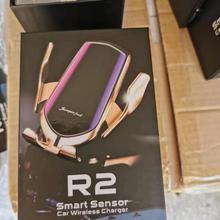 R2 автоматический зажим 10 Вт автомобильное беспроводное зарядное устройство для iPhone Xs huawei LG инфракрасная индукция Qi для дропшиппинг