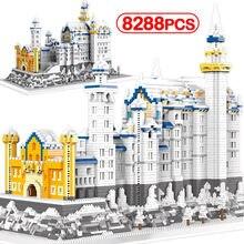 8288 pièces créateur ville Architecture neige cygne château diamant blocs de construction Mini Micro briques jouets éducatifs pour les enfants