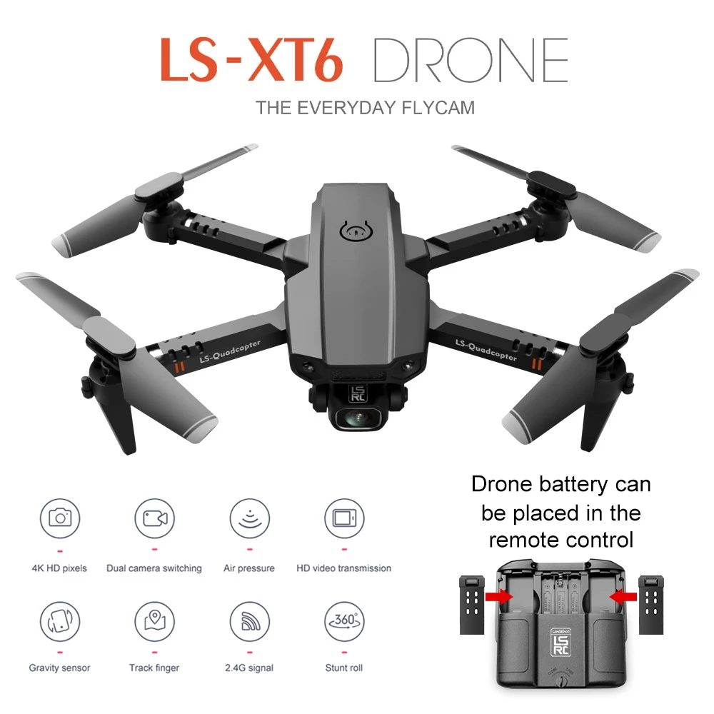 SHAREFUNBAY Mini Drone XT6 4k HD Camera Visual Positioning 1080P WiFi FPV...