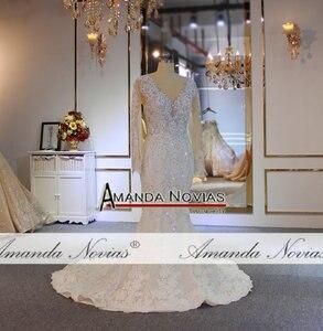 Image 2 - יוקרה מלא ואגלי בת ים שמלות כלה עם נתיק רכבת כבד ואגלי חתונת כלה שמלות