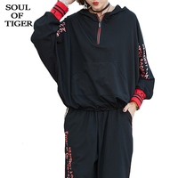 SOUL OF TIGER 2020 Spring Fashion Ladies Casual Printed Tops And Pants Womens Oversized Two Piece Sets Fitness Female Tracksuits