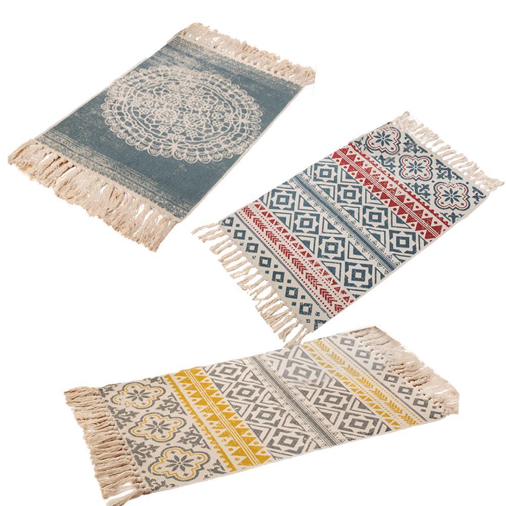 Hemp Cotton Bohemian American Style Carpet Mat Living Room Bedroom Bedside Mat Retro Celebrity Tassel Blanket Turkey Carpet 4