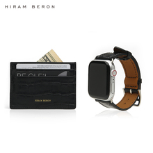 Hiram Beron gift set FREE CUSTOM NAME SERVICE black croco pattern leather card holder and for Apple Watch strap dropship