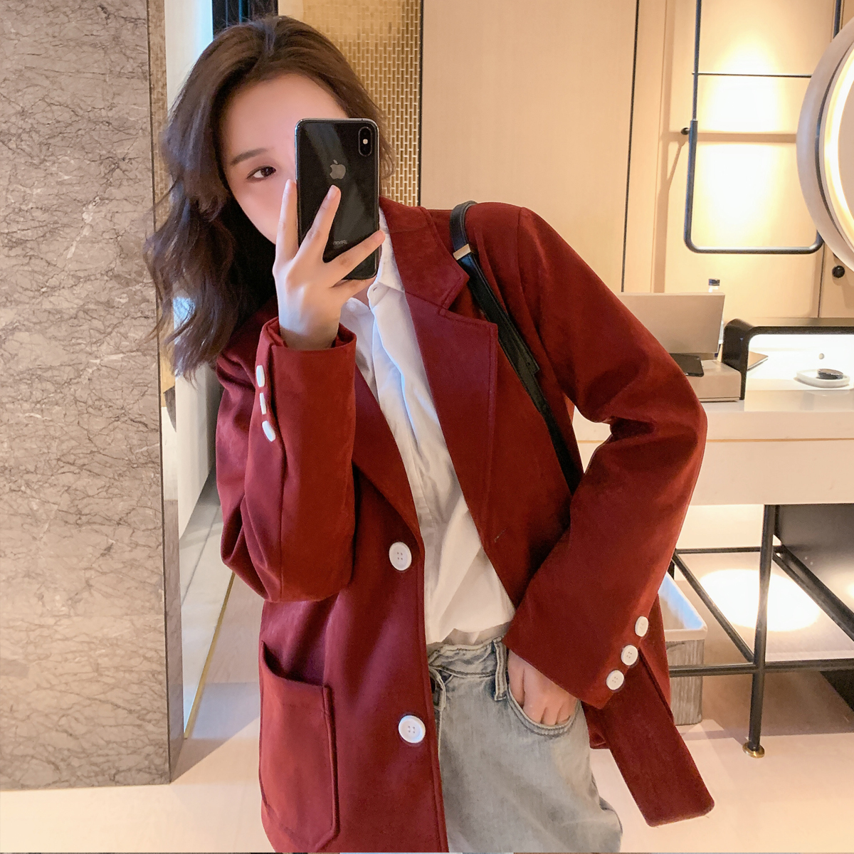 2020 Spring And Autumn New Youth Popular Solid Color Single-breasted Ladies Suit Fashion Business Casual Jacket Coat Red / Blue