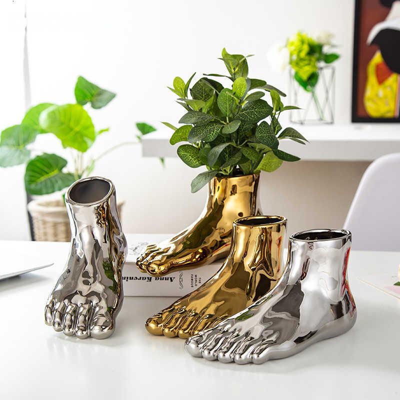 2 개/대 북유럽 인간의 발 꽃병 장식품 황금 세라믹 꽃병 꽃 냄비 추상 화분 식물 꽃꽂이 아트 홈 장식