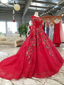 Image 3 - BGW HT33020 Color Lace Flower Beautiful Dress Quick Shipping From China Long Sleeve O neck Lace Up Back Cheap Evening Dress 2020