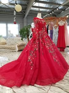 Image 3 - BGW HT33020 צבע תחרה פרח יפה שמלת מהיר חינם מסין ארוך שרוול O צוואר תחרה עד בחזרה זול שמלת ערב 2020