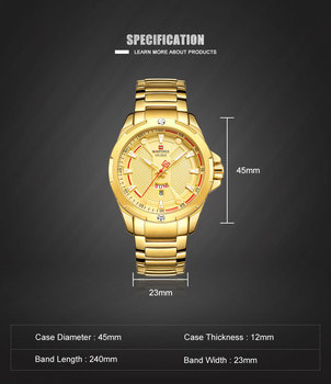 NAVIFORCE Fashion Waterproof Mens Sports Watches Top Brand Luxury Quartz Watch Stainless Steel Strap Casual Dress Wristwatch