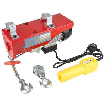 цена на AC 220V 100/200Kg Electric Cable Hoist Lifting Wire Hanging Crane With Emergency Stop Switch