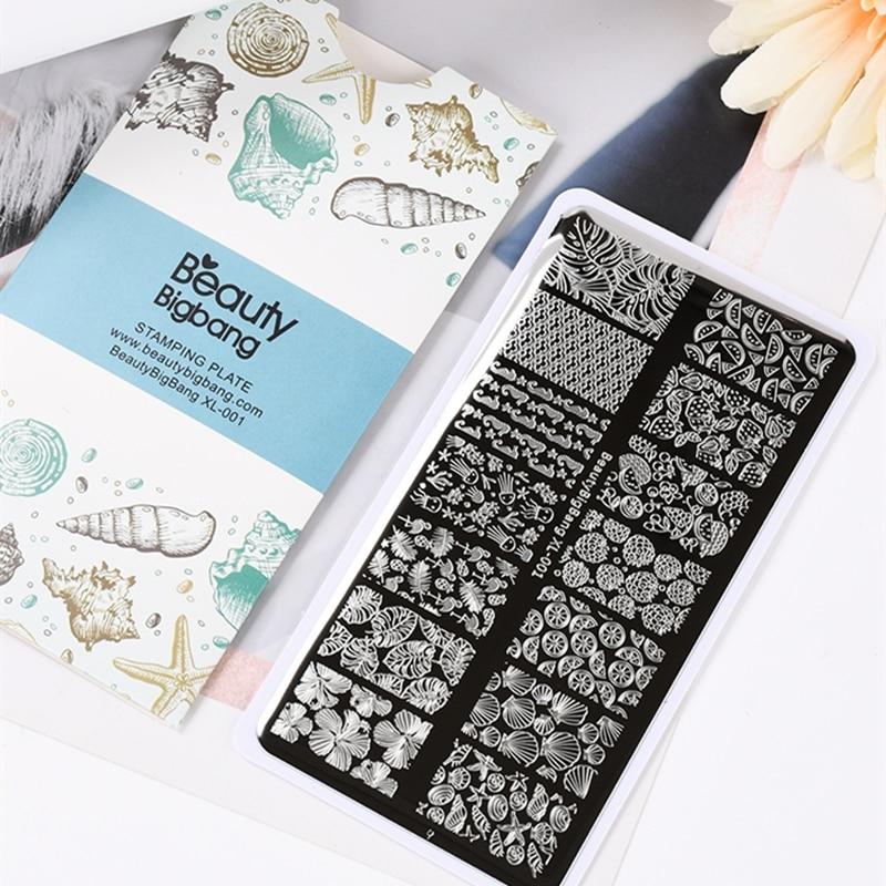 Beauty BigBang штампованные пластины XL-001, классический стиль, морская звезда, оболочка, фруктовые листья, изображение 12*6 см, нержавеющая сталь, диз...
