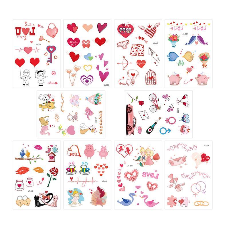 10 hojas tatuaje del Día de San Valentín etiqueta engomada respetuosa con el medio ambiente pegatina del cuerpo tatuaje romántico PEGATINAS ARTE corporal tatuajes temporales Tarjeta de estacionamiento temporal NÚMERO DE TELÉFONO Placa de tarjeta para Renault Kangoo DACIA escénica Megane Sandero captor Twingo Modus