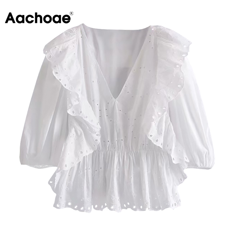 Aachoae Women Hollow Out White Embroidered Blouse V Neck Stylish Ruffles Cotton Shirt Lantern Sleeve Solid Causal Tops Blusas