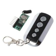 1set 4 Channel Keys Wireless Remote Control 315/433 MHZ Learning Code Controller with LED Light Module Receiver(China)
