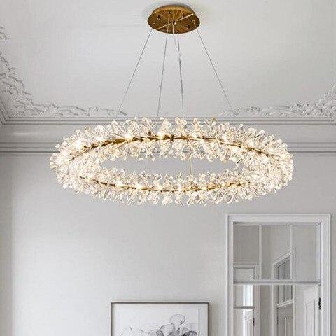 anel design moderno lustre de cristal lampada ac110v 220v lustre led sala estar iluminacao e
