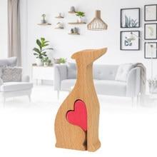 Nette Design Holz Hund Herz Figur Einzigartige Dekorationen Beste Hause Handgemachte Ornamente Für Home Dekoration Zubehör Dekoration