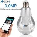A-ZONE 3.0MP HD 360 панорамная лампа Wifi светодиодный светильник камера ночного видения 1536P домашняя беспроводная ip-камера видеонаблюдения