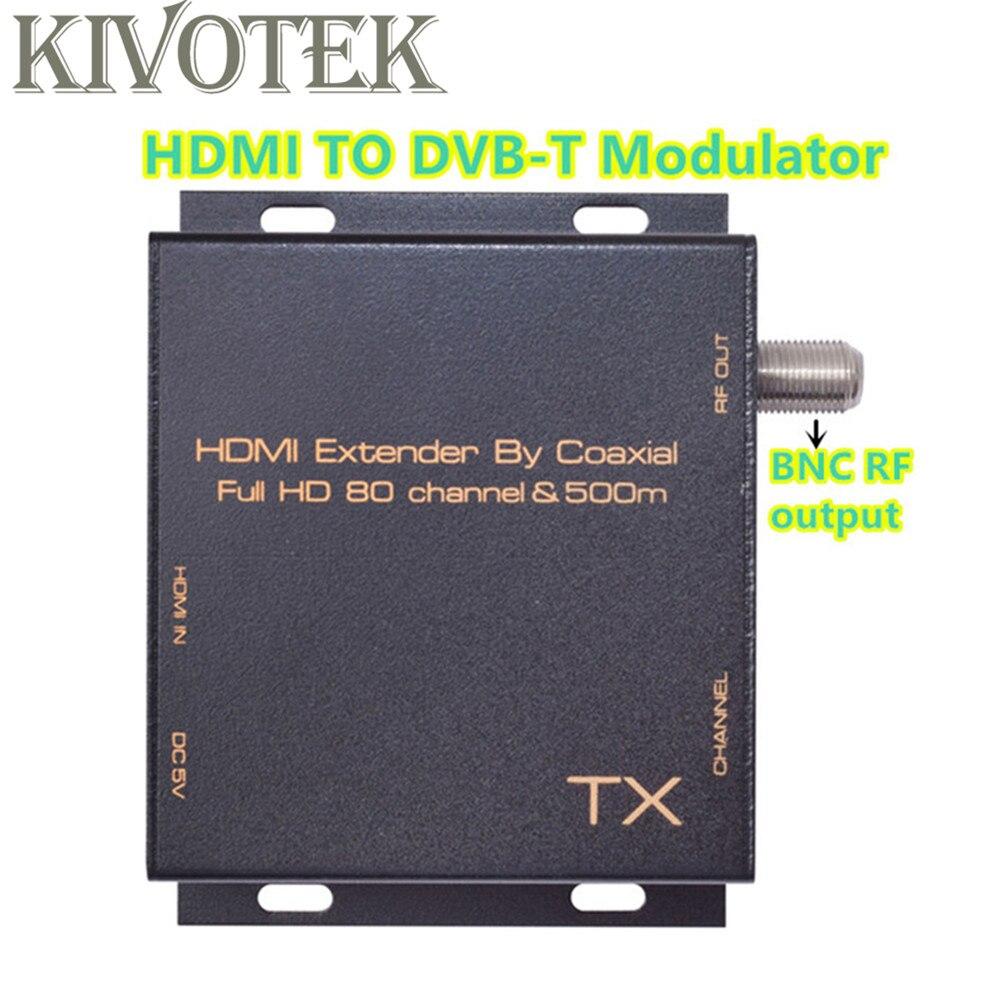 HD1080P HDMI à DVB-T modulateur adaptateur émetteur 80 canaux, câble de connecteur Coaxial RF 500m pour HDTV STB CCTV livraison gratuite