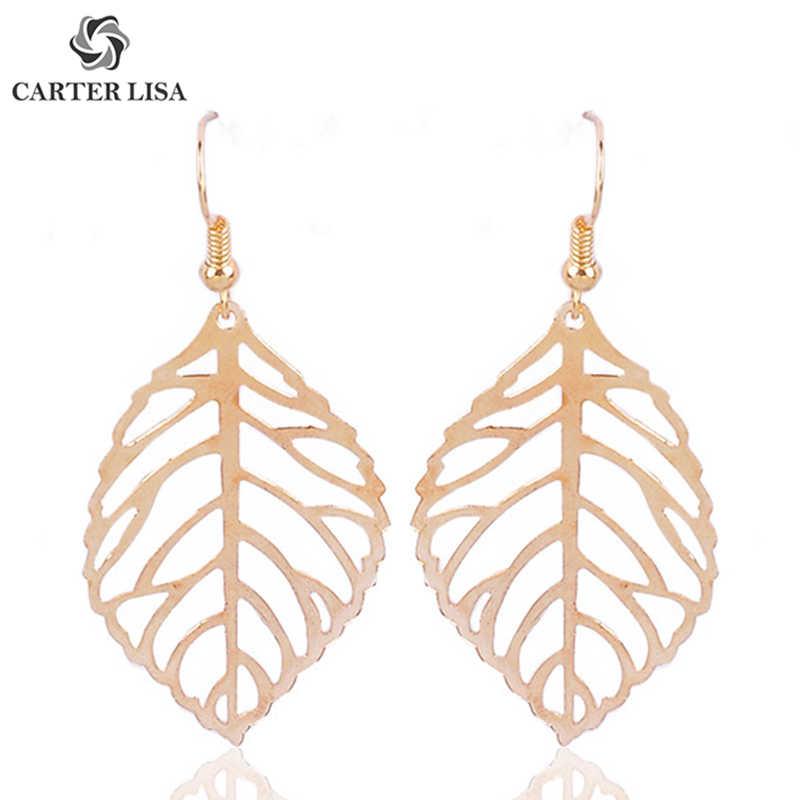 Fashion Drop Earrings Hollow Gifts Women Decor Dangle Earrings Leaf Shaped LA