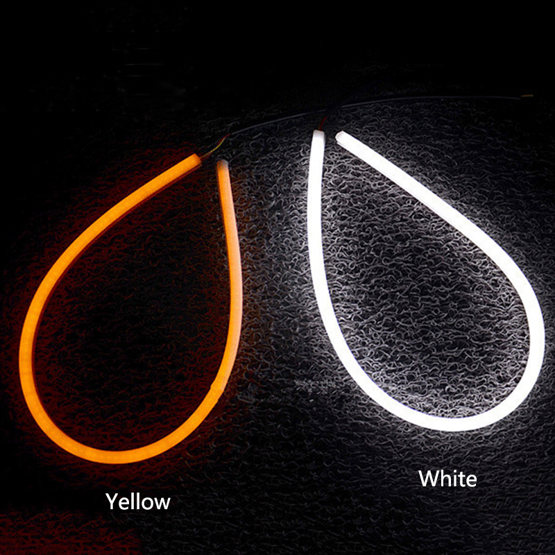 Купить с кэшбэком 2pcs 30CM LED White Car Flexible DRL Daytime Running Strip Light Soft Tube Lamp