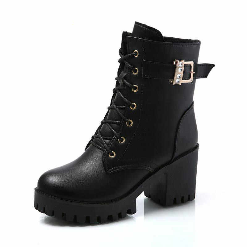 Lzj outono quente moda feminina botas de salto alto plataforma fivela rendas acima zip couro do plutônio curto botas preto senhoras sapatos plataforma