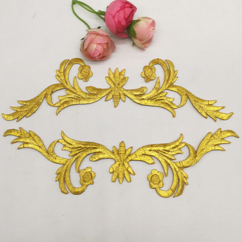Iron On Patches Gold Royal Crown Budges Flower Embroidered Patches Diy Garment Appliques Costume Cosplay 20*5cm image