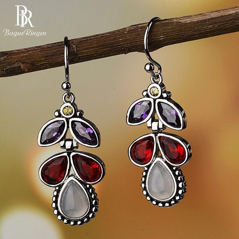 Bague Ringen Fashionable Coloured Gemstone Earrings For Women Silver 925 Jewelry With Water Drop Shaped Moonstone Female Eardrop