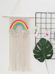 Macrame Woven Wall Hanging Rainbow Bohemian Room Geometric Art Wall Hanging Wall Art Macrame Tapestry Decoration SUpplies