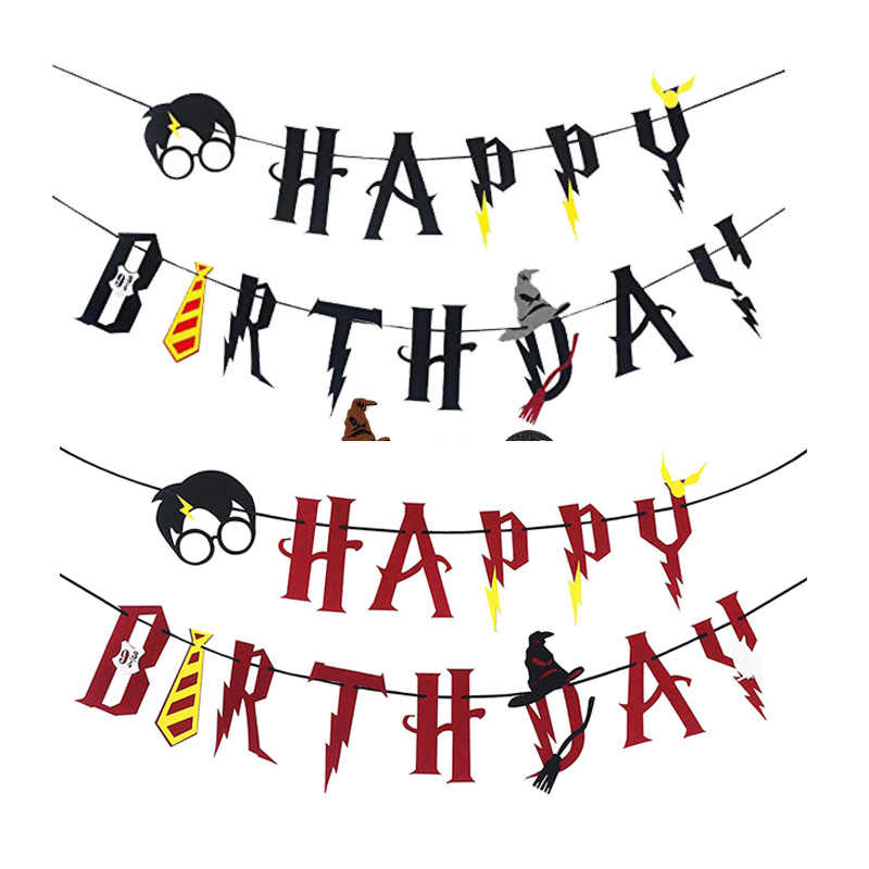 Banner Buon Compleanno Ghirlanda Wall Hanging Bunting HP Cake Toppers Baby Shower Bambini Festa di Compleanno Favo Decorazione