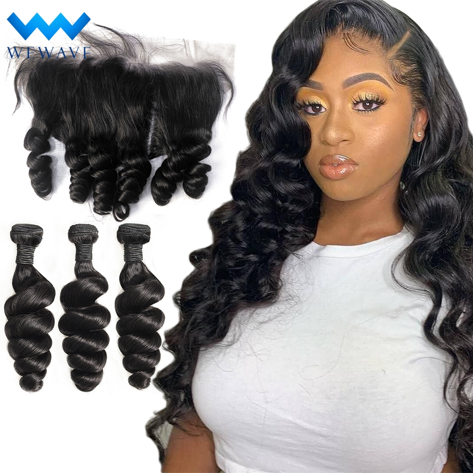 loose deep wave brazilian hair weave bundles 3 bundles with frontal long virgin natural human hair extensions bundle deals