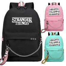 Stranger Things bolsas de libro escolar mochila USB para ventiladores, bolsos de viaje, mochila con cadena para portátil, auriculares, puerto USB