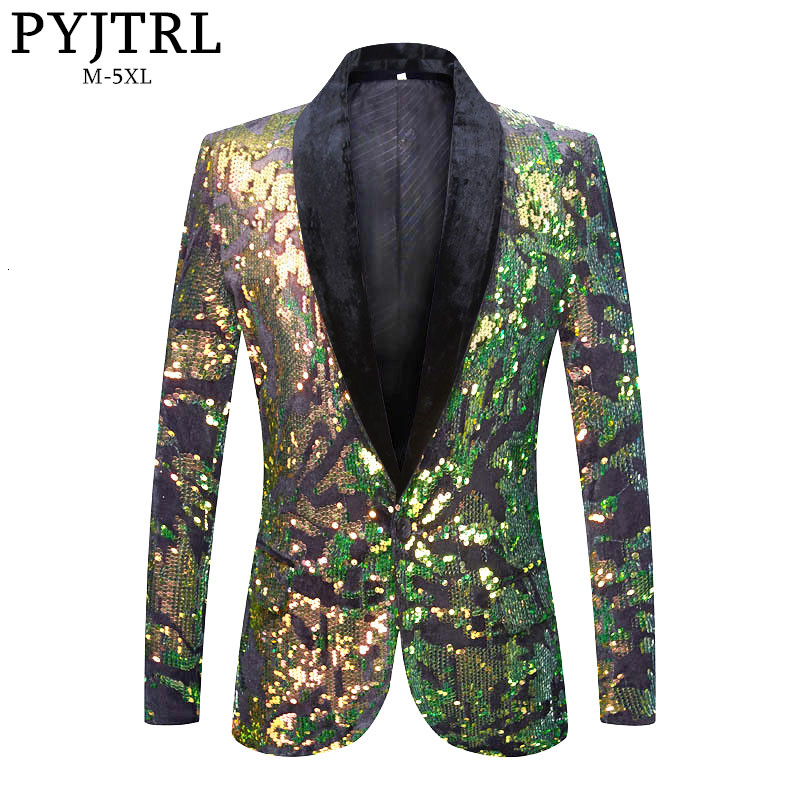 PYJTRL Mens Stylish Green Gold Sequins Velvet Blazer Stage Singers Shiny Paillette Slim Fit Suit Jacket Party Autumn Winter Coat